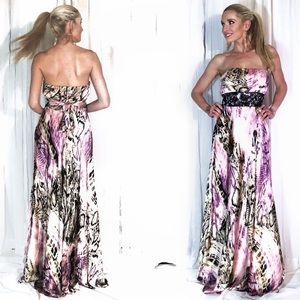 Pink Tan Animal Print Strapless Beaded Prom Dress